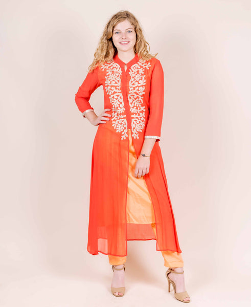 Embroidered Kimono Neck Jacket Style Layered Kurta