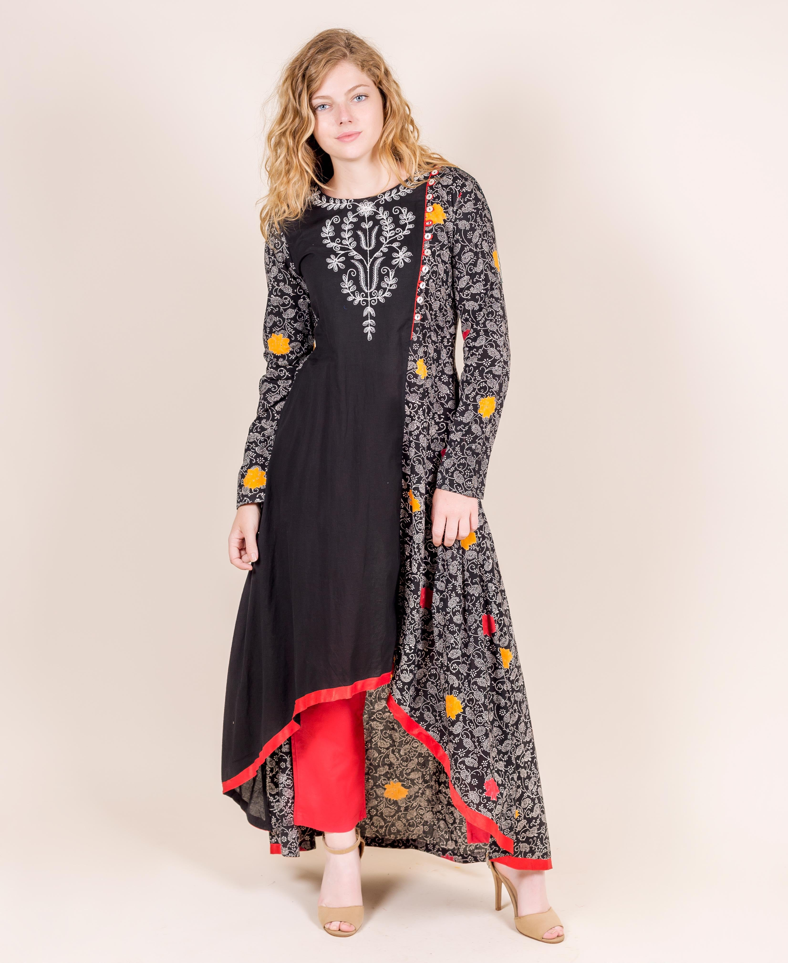 Flap Crew Neck Tulip Cut Floor Length Indo Western Kurta With Pegged Trousers