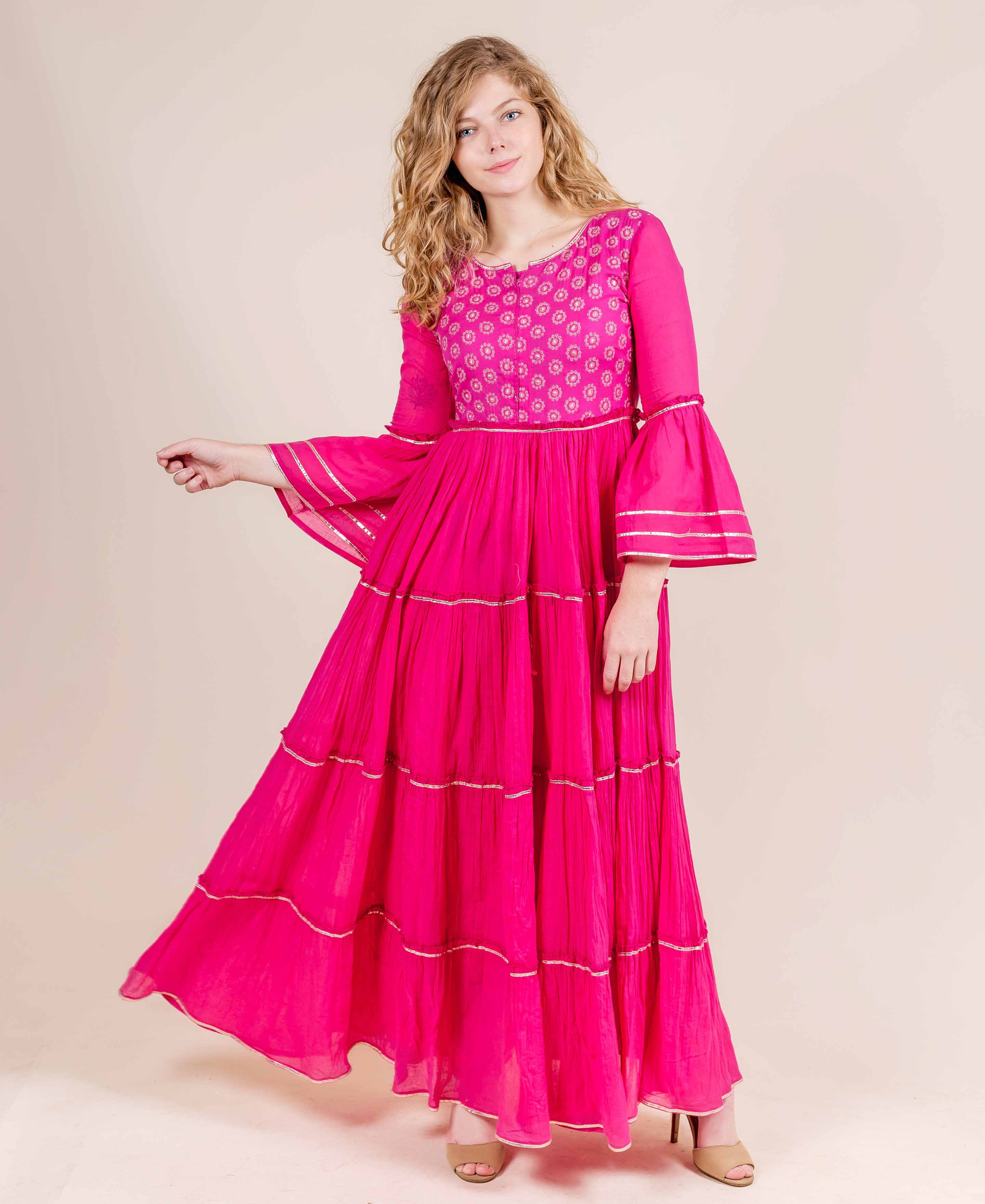 Fuchsia Full Bell Sleeves with Gota Trim Cotton Dresses online shopping