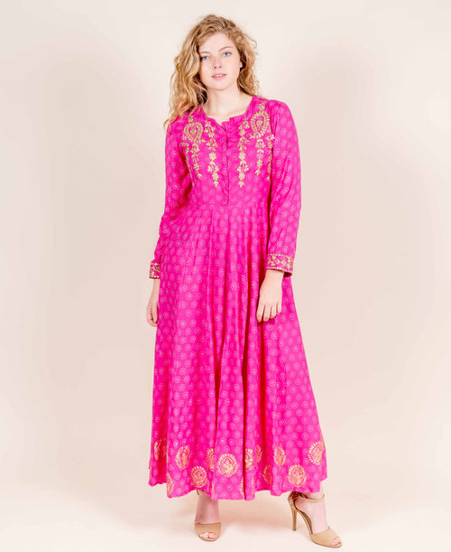 Full Sleeves Fuchsia Flared Hand Block Printed Rayon Dresses