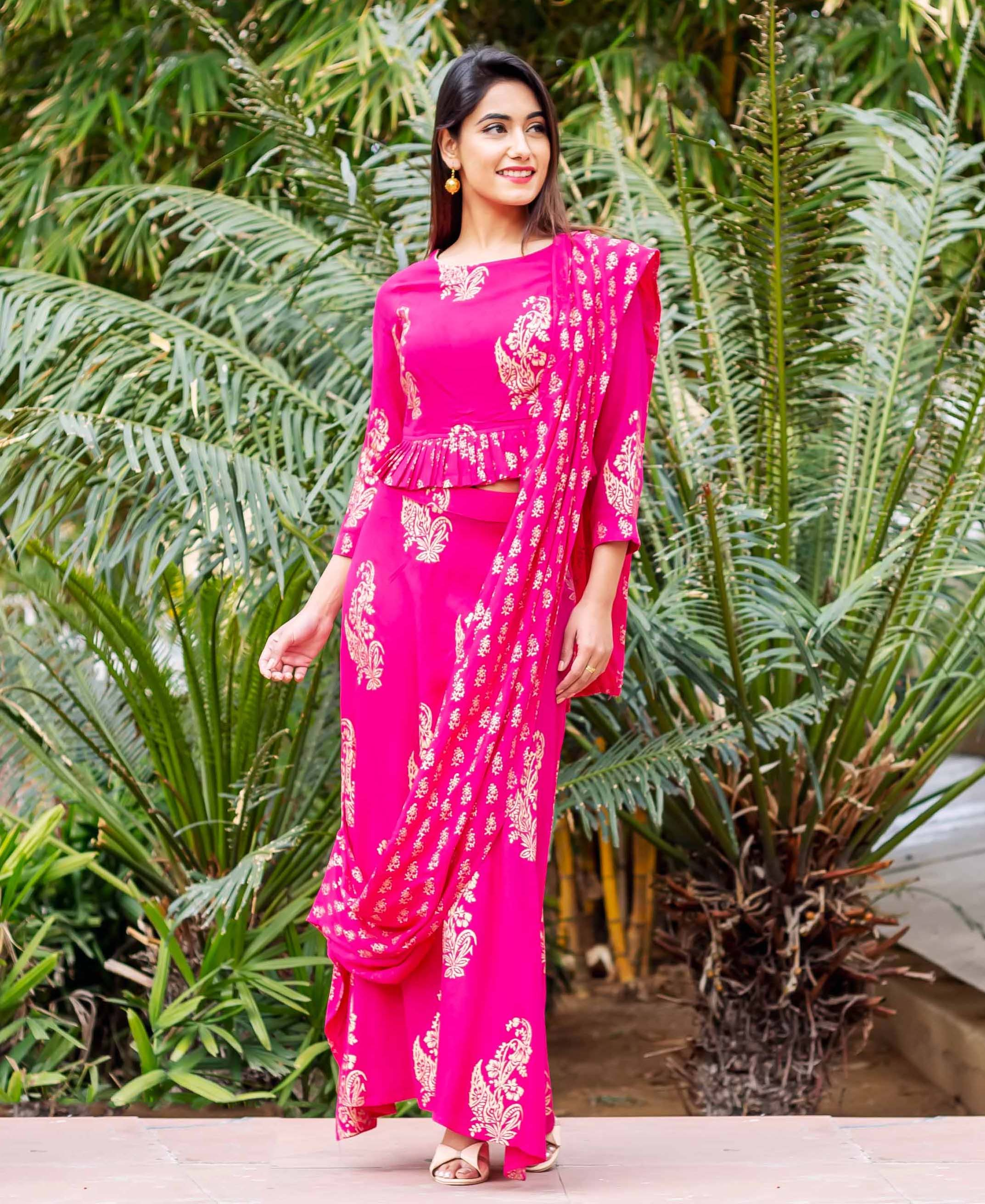 Fuchsia and Gold Printed Top with Saree Skirt