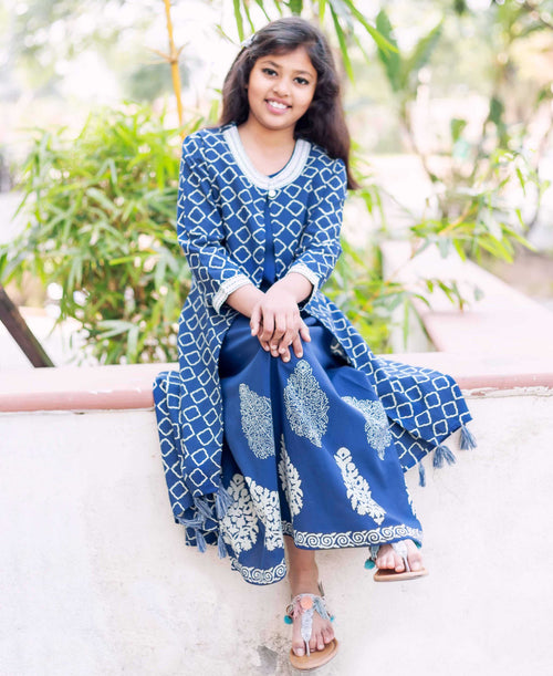Indigo And White Hand Block Printed Jacketed Dress