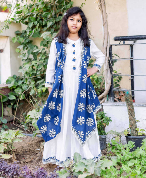Floor Length Indo Western with Asymmetrical Shrug for Baby Girl