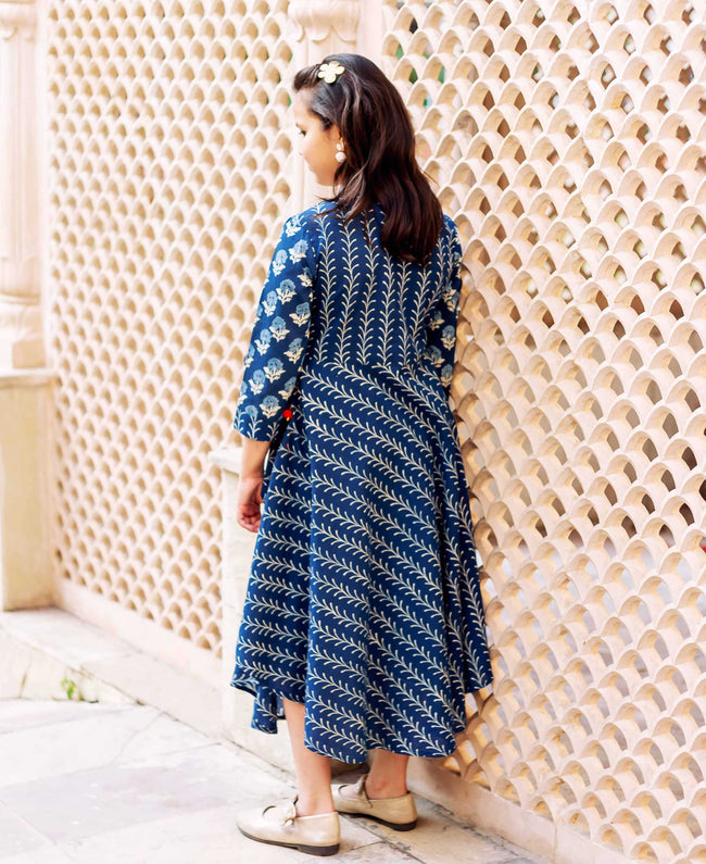 Blue Tasseled Cotton Asymmetrical Angrakha Dress