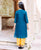 Teal and Yellow Chanderi Kurta Set for Baby Girl
