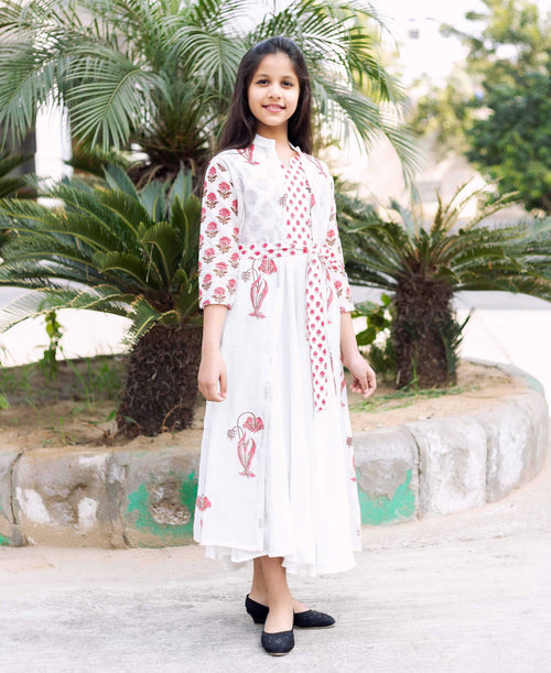 Printed Chanderi Jacketed Long Dress for Baby Girl