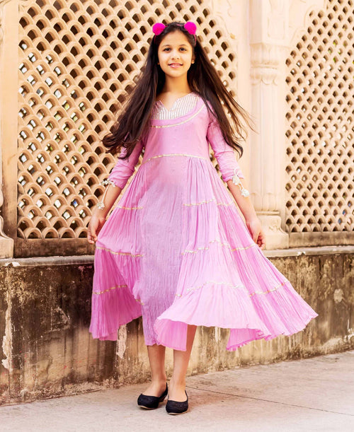 Pink Gota Frill Long Dress for Baby Girl