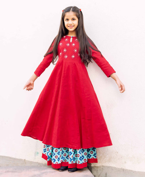 Long Kurta with Hand Block Printed Skirt For Baby Girl