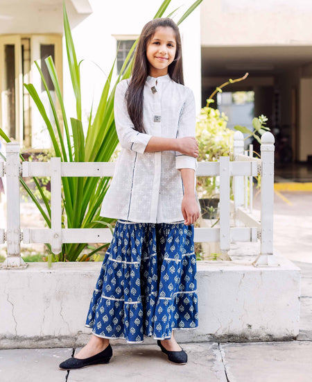 Grey Embroidered Chanderi Suit Set for Baby Girl