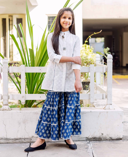 White and Indigo Kurta Set With Flared Sharara for Baby Girl