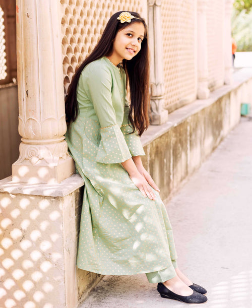 Green Golden Block Printed Kurta with Palazzo for Baby Girl