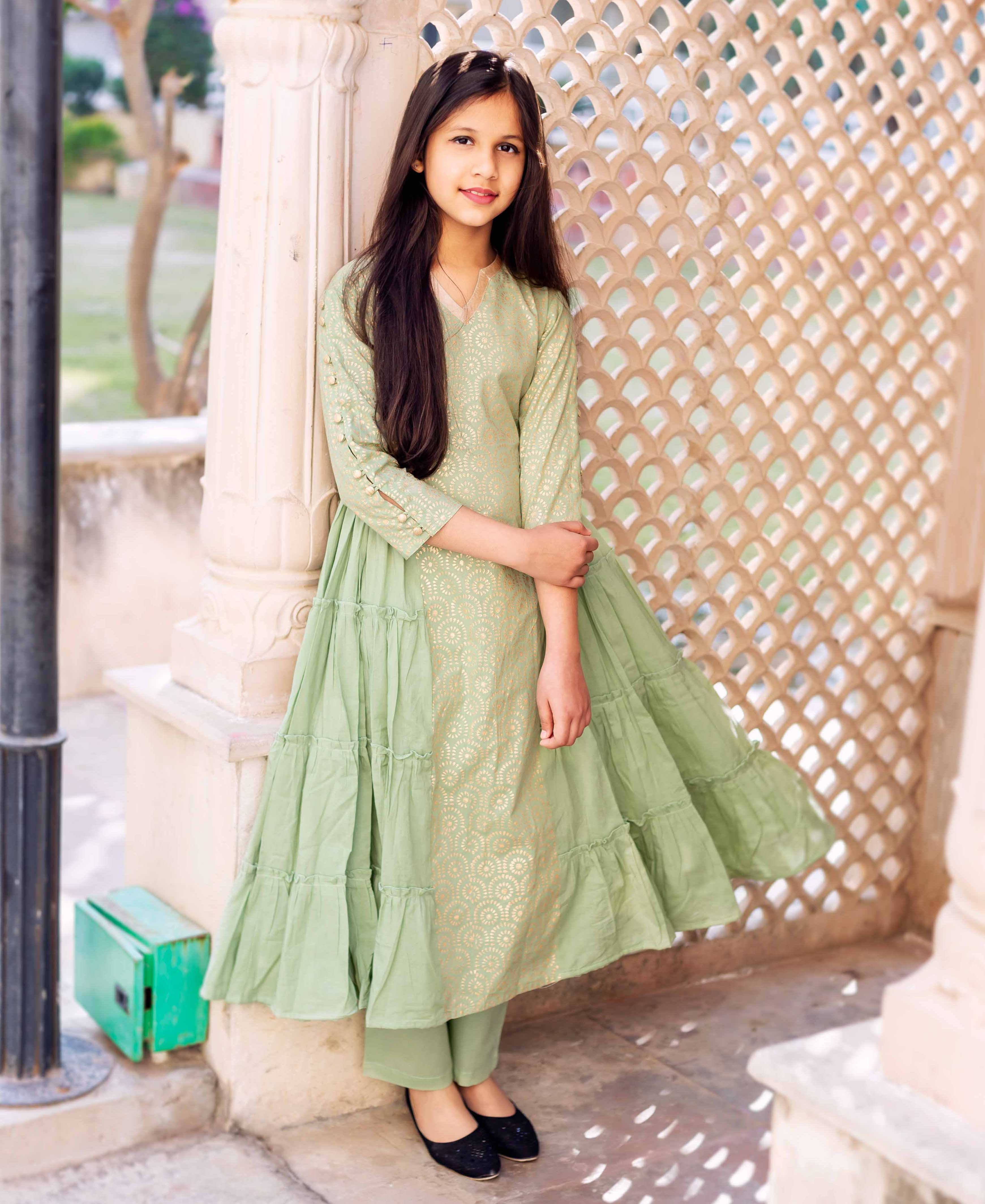 Green and Golden Block Printed Tiered Style Kurta Set for Baby Girl