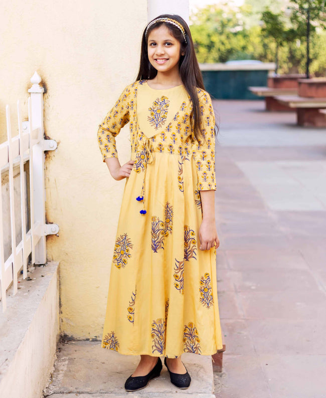 Designer Hand Block Printed Long Anarkali Dress for Baby Girl