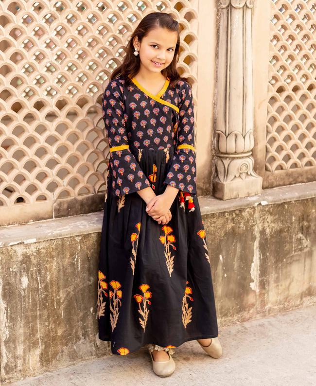 Black and Yellow Block Printed Angrakha Dress for Baby Girl