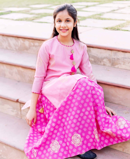 Golden Hand Block Printed Pink Kurta with Flared Skirt For Girls