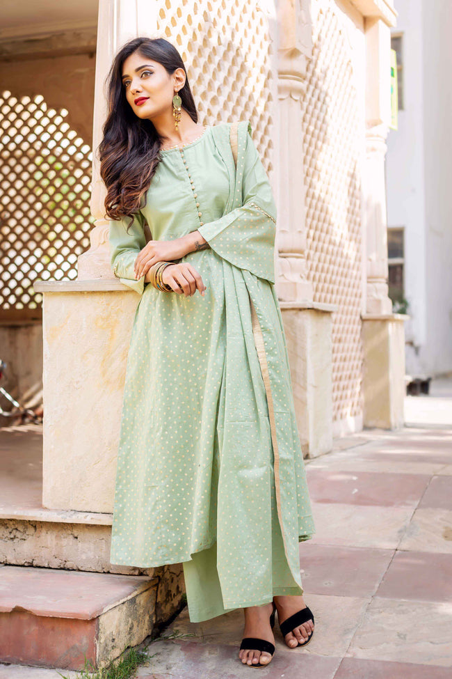 Golden Hand Block Printed Suit Set with Dupatta online for women