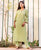 Green Modal Straight Cut Kurta with Pleated Pants