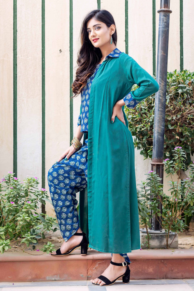 Green and Indigo Indo Western Suits Set with Dhoti and Jacket Online