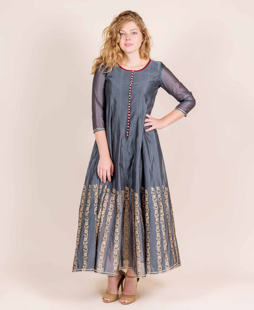 Grey Hand Block Printed Long Designer Chanderi Dresses for women online