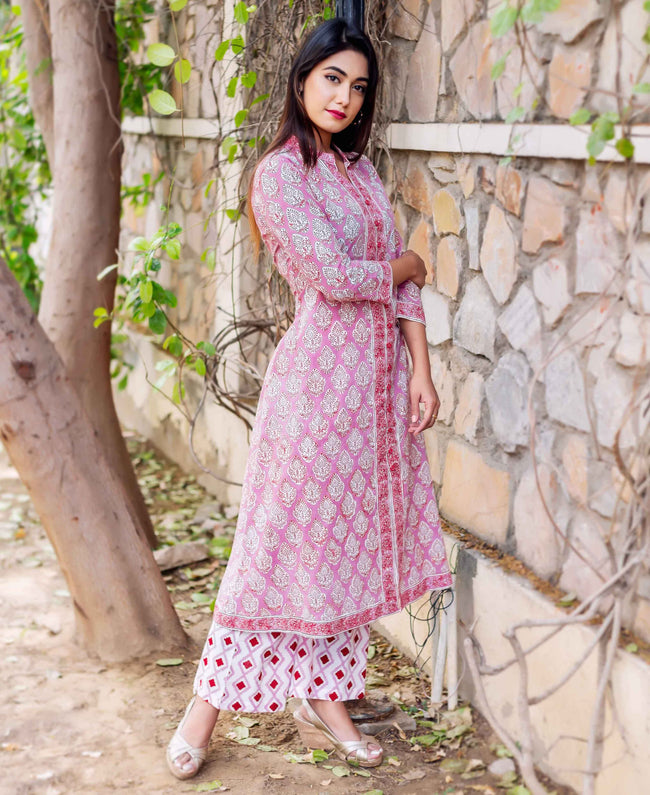 Hand Block Printed A-Line Kurta with Palazzo online shopping