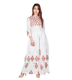 White and Peach Hand Block Printed Cape Kurta with Palazzo