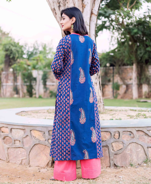 Hand Block Printed Cotton Kurta with Solid Pleated Palazzo For Ladies