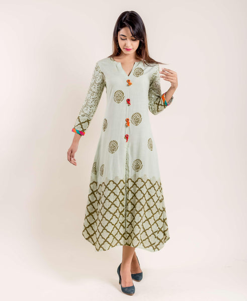 Mint Green Cotton Hand Block Printed Dress