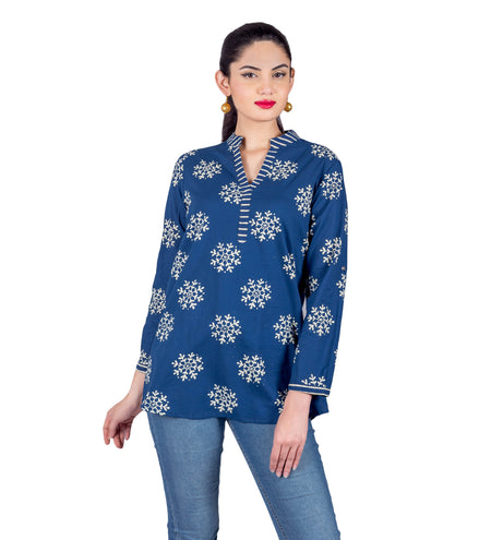 Blue Asymmetrical Block Printed Indo Western Dress