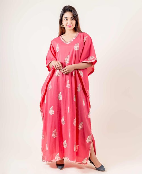 Pink Hand Block Printed Kaftan With Beautiful Motifs