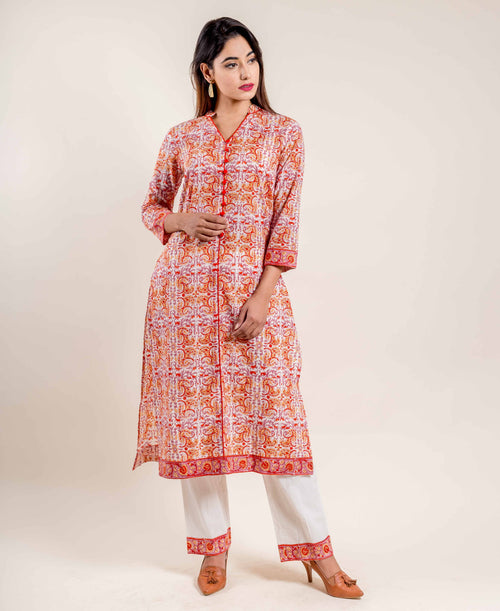 Orange Straight Cut Hand Block Printed Kurta with Pants