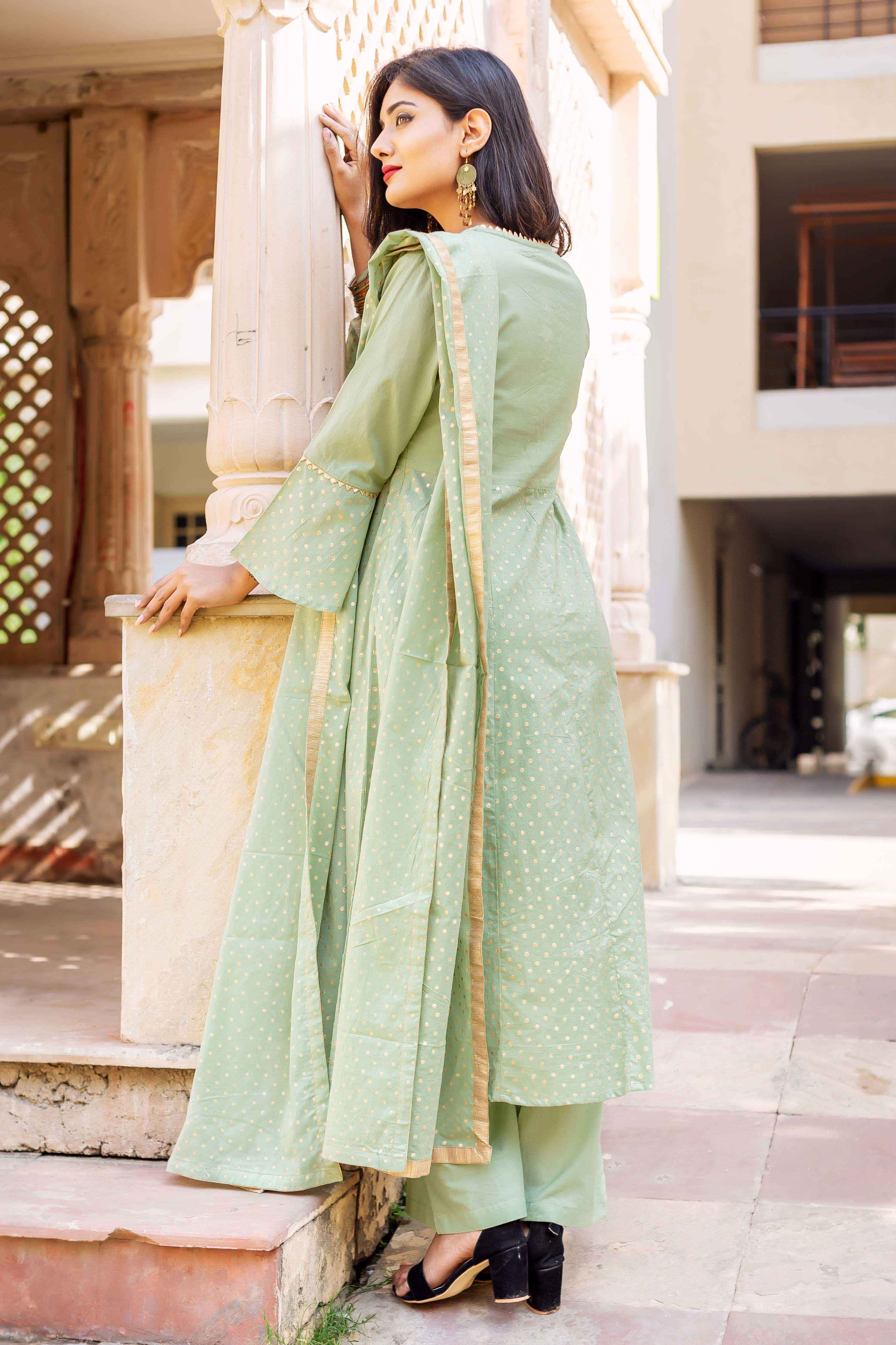 Hand Block Printed Suit Set with Dupatta online for girls at best prices