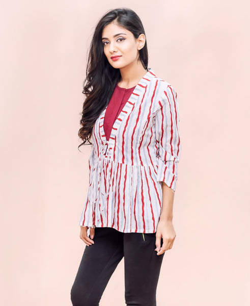 Hand Block Printed Western Short Tops online shopping