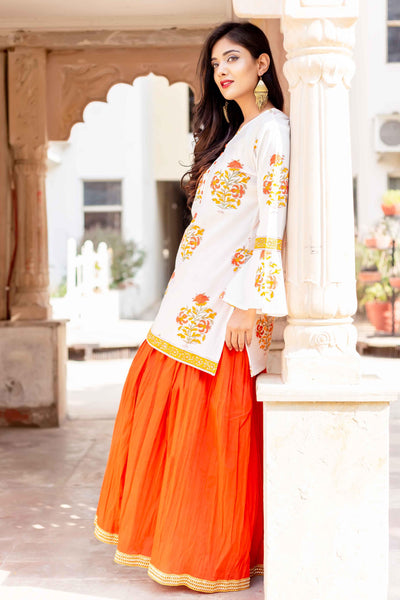 Hand Block Printed White Bell Sleeves Kurta with Solid Orange Skirt Online