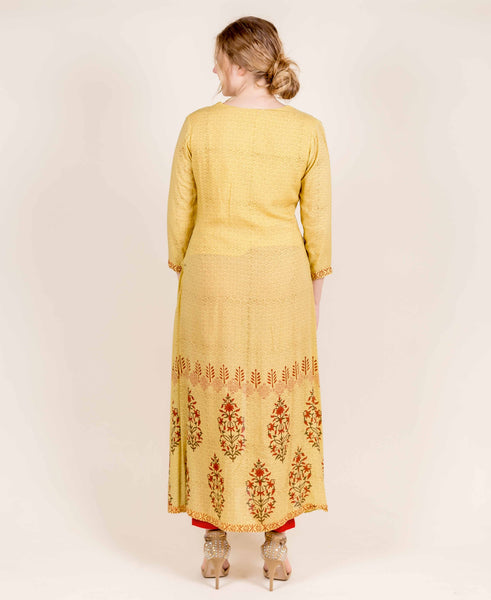 Jacket Style Damask Pattern Cape Kurti