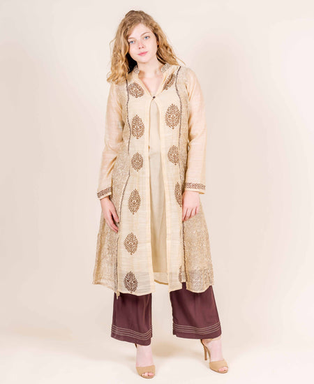 Red and Beige Hand Block Printed Jacket Kurta