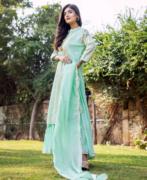 Sea Green Kantha Cotton Kurta Dress with Chanderi Silk Dupatta