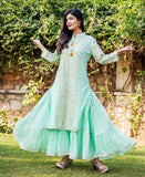 Sea Green Cotton Straight Long Kurta Dress with Kantha Work