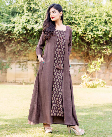 Beige / Brown and Rust High Low Indo Western Kurti with Pants