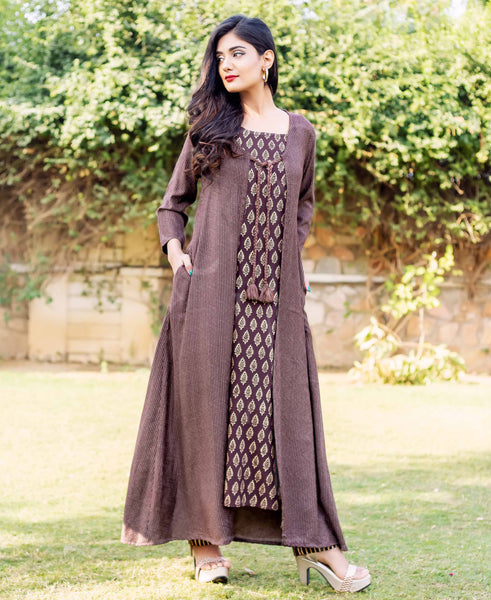 Brown Kantha Long Jacket with Sleeveless Block Printed Inner and Pants