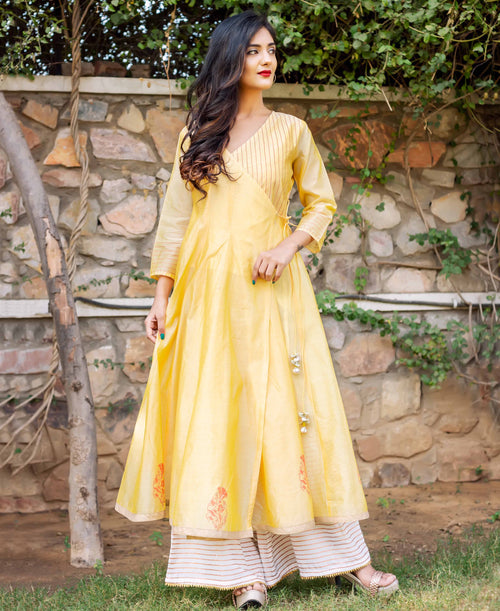 Golden Block Printed Angrakha Style Long Kurtas with White Palazzo