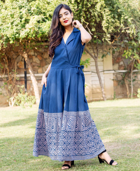 Indigo Long Gota Dress with Peach Hand Block Printed Dupatta