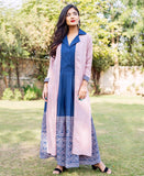 Block Printed Indigo Blue and Pink Sleeveless Jumpsuit With Jacket