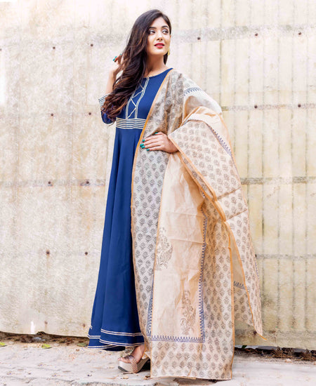 Teal and Indigo Hand Block Printed Suit Set with Chanderi Dupatta