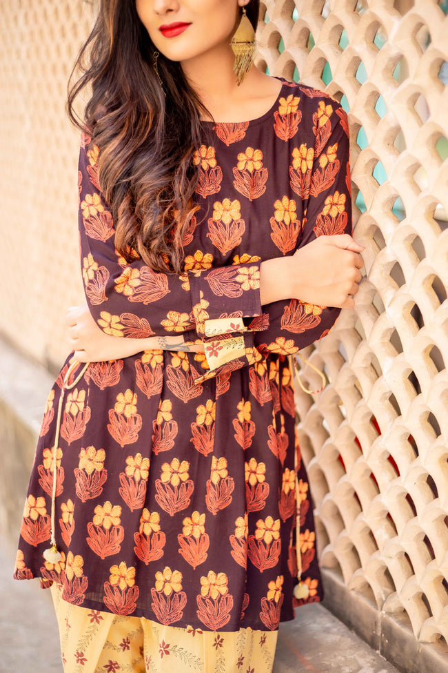 Brown and Yellow Full Sleeves Suit Set with Kurti and Dhoti for women Online