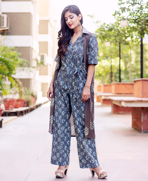 3/4 Sleeves Block Printed Long Jumpsuit with Jacket