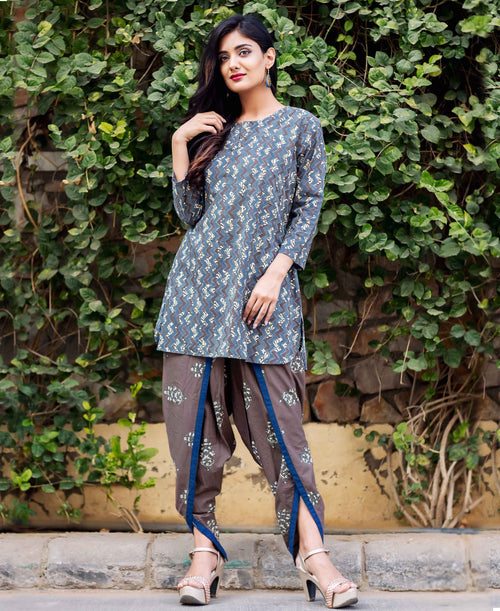 Mystique Blue and Brown Hand Block Printed Kurta with Dhoti