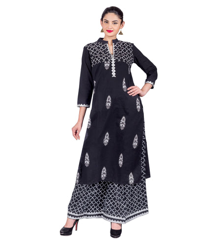 Indigo Blue High Low Mandarin Flat Collar Indo Western Kurti