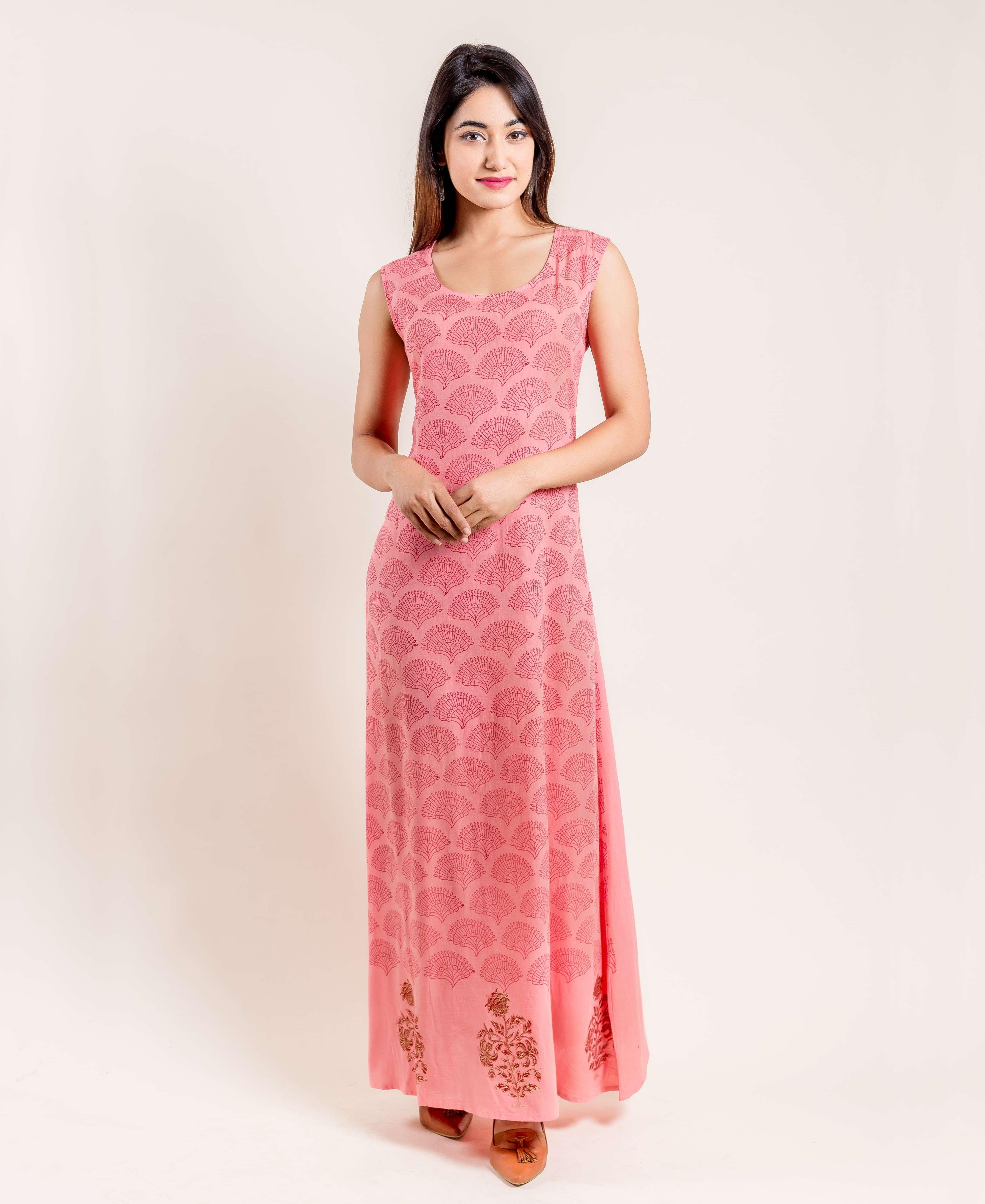 Peach Hand Block Printed Indo Western Jacket Dress