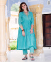 Blue Flared Kurta Set with Straight Pants