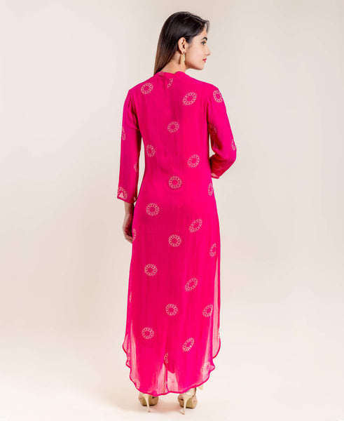 Fuchsia Block Print Georgette Indo Western Kurta with Golden Pants
